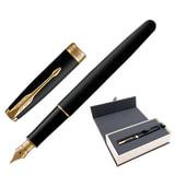 Ручка перьевая PARKER «Sonnet GT», корпус черный лак, латунь, позолоченные детали, черная, 1931516