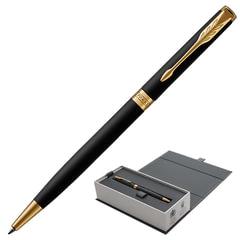 Ручка подарочная шариковая PARKER «Sonnet Core Matt Black GT Slim», тонкий черный корпус, позолоченные детали, черная, 1931520