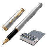 Ручка-роллер PARKER «Sonnet Steel GT», корпус серебристый, нержавеющая сталь, позолоченные детали, 1931506, черная