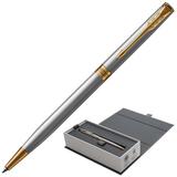 Ручка шариковая PARKER «Sonnet Steel Slim GT», тонкий корпус, серебритстый, сталь, позолоченные детали, 1931508, черная