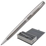Ручка шариковая PARKER «Sonnet Steel CT», корпус серебристый, нержавеющая сталь, палладиевое покрытие деталей, 1931512, черная