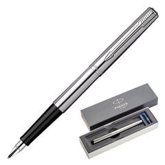 Ручка перьевая PARKER «Jotter Stainless Steel CT», корпус серебристый, нержавеющая сталь, хромированные детали, синяя, 1955311