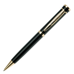 Ручка шариковая PIERRE CARDIN (Пьер Карден) «Gamme», корпус черный, латунь, золотистые детали, синяя, PC0805BP