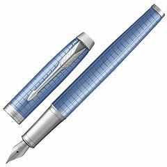 Ручка подарочная перьевая PARKER «IM Premium Blue CT», голубой корпус с гравировкой, хромированные детали, синяя, 1931688