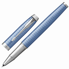 Ручка-роллер PARKER «IM Premium Blue CT», голубой анодированный алюминий с гравировкой, хромированные детали, черная, 1931690
