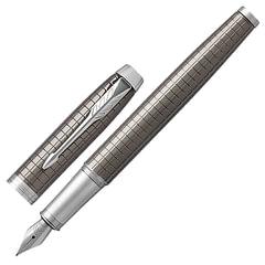 Ручка подарочная перьевая PARKER «IM Premium Dark Espresso Chiselled CT», лак кофейного цвета с гравировкой, хром, синяя, 1931681