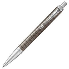 Ручка подарочная шариковая PARKER «IM Premium Dark Espresso Chiselled CT», лак кофейного цвета с гравировкой, хром, синяя, 1931683