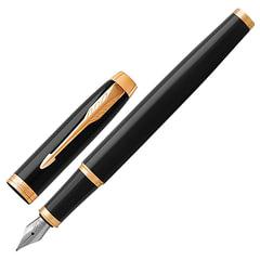 Ручка перьевая PARKER «IM Core Black Lacquer GT», черный глянцевый лак, латунь, позолота, синяя, 1931645