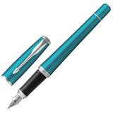 Ручка перьевая PARKER «Urban Core Vibrant Blue CT», корпус изумрудный, латунь, лак, хромированное покрытие деталей, 1931594, синяя