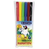 Фломастеры CENTROPEN, 6 цветов, «Пингвины», смываемые, вентилируемый колпачок, полибег