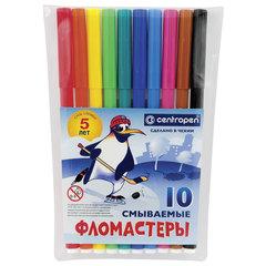 Фломастеры CENTROPEN, 10 цветов, «Пингвины», смываемые, вентилируемый колпачок, полибег