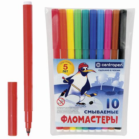 """Фломастеры CENTROPEN, 10 цв., """"Пингвины"""", смываемые, вентилируемый колпачок, гарантия 3 года"""