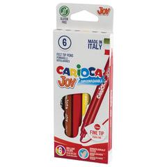 Фломастеры CARIOCA (Италия) «Joy», 6 цветов, суперсмываемые, вентилируемый колпачок, картонная коробка