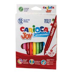 Фломастеры CARIOCA (Италия) «Joy2», 12 цветов, суперсмываемые, вентилируемый колпачок, картонная коробка