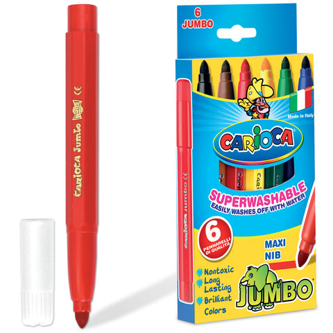 Фломастеры утолщенные CARIOCA JUMBO, 6 цветов, вентилируемый колпачок, картонная коробка
