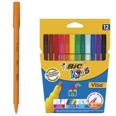 Фломастеры BIC «VISA», 12 цветов, суперсмываемые, вентилируемый колпачок, европодвес