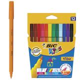 Фломастеры BIC «VISA» (Франция), 12 цветов, суперсмываемые, вентилируемый колпачок, картонная упаковка с европодвесом