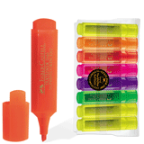 Текстмаркеры FABER-CASTELL, набор 8 шт., флуоресцентные цветные, 1-5 мм (3 желтых, оранжевый, розовый, красный, синий, зеленый)