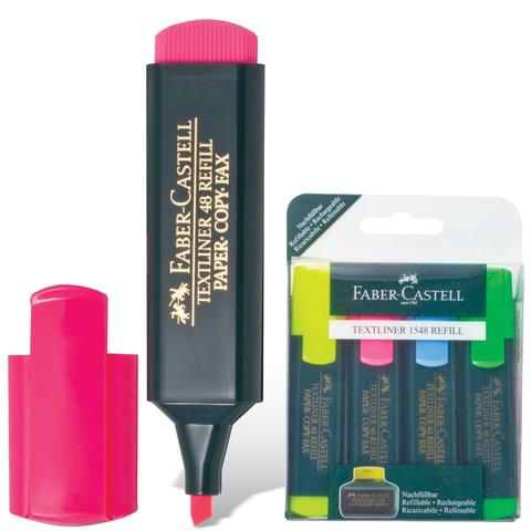 Текстмаркеры FABER-CASTELL, набор 4 шт., флуоресцентные цветные, 1-5 мм (желтый, розовый, синий, зеленый)