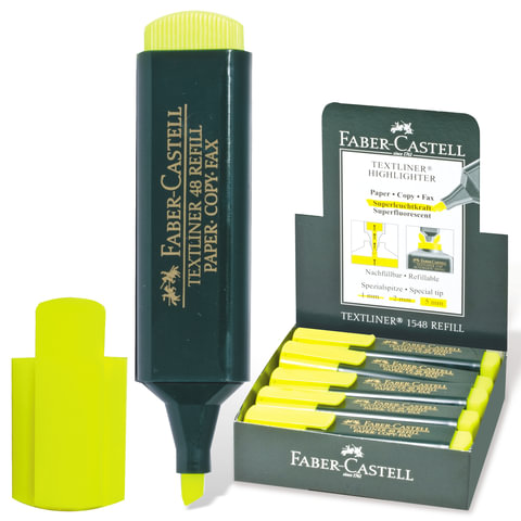 Текстмаркер FABER-CASTELL «1548», скошенный наконечник 1-5 мм, флюоресцентный желтый