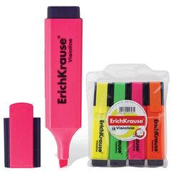 Текстмаркеры ERICH KRAUSE, набор 4 штуки, «Visioline V-20», скошенные, 0,6-5,2 мм, (желтый, зеленый, розовый, оранжевый)