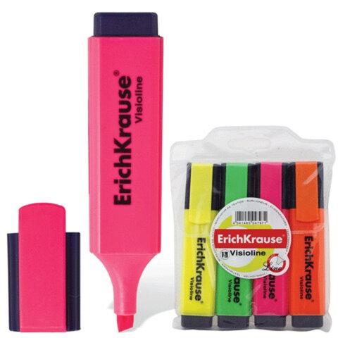 Текстмаркеры ERICH KRAUSE, набор 4 шт., «Visioline V-20», скошенный наконечник 0,6-5,2 мм (желтый, зеленый, розовый, оранжевый)