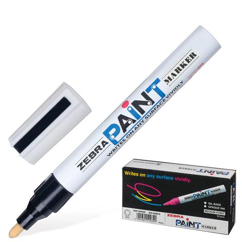 Маркер-краска перманентный (нестираемый) ZEBRA «Paint», круглый наконечник 2 мм, черный