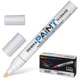 Маркер-краска перманентный (нестираемый) ZEBRA «Paint», круглый наконечник 2 мм, белый