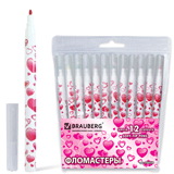 Фломастеры BRAUBERG (БРАУБЕРГ) «Sweetheart», 12 цветов, вентилируемый колпачок, корпус с печатью, пластиковая упаковка