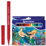 Фломастеры BRAUBERG (БРАУБЕРГ) «Морские легенды», 18 цветов, вентилируемый колпачок, картонная упаковка с блестками