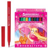 Фломастеры BRAUBERG (БРАУБЕРГ) «Rose Angel», 24 цвета, вентилируемый колпачок, картонная упаковка, увеличенный срок службы