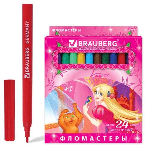 """Фломастеры BRAUBERG """"Rose Angel"""", 24 цвета, вентилируемый колпачок, картонная упаковка, увеличенный срок службы"""