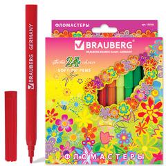 Фломастеры BRAUBERG «Blooming flowers», 24 цвета, вентилируемый колпачок, картонная упаковка с радужной фольгой