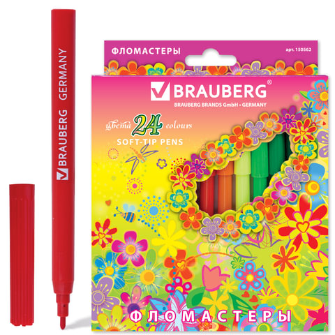 Фломастеры BRAUBERG (БРАУБЕРГ) «Blooming flowers», 24 цвета, вентилируемый колпачок, картонная упаковка с радужной фольгой