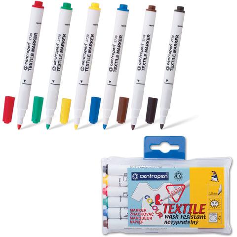 Маркеры для ткани CENTROPEN, набор 6 штук, круглые, 1,8 мм, (черный, коричневый, красный, желтый, зеленый, синий)
