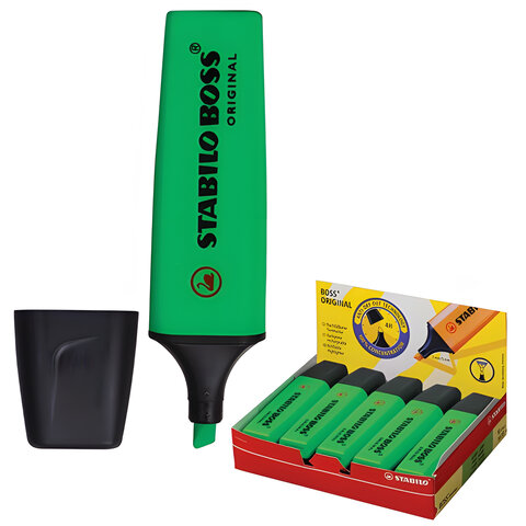 "Текстмаркер STABILO ""Boss"", скошенный наконечник 2-5 мм, зеленый"
