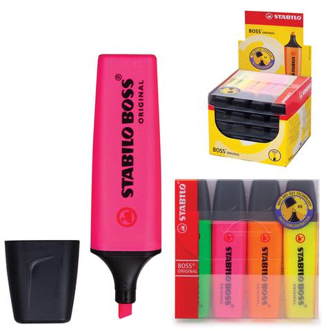 Текстмаркеры STABILO, набор 4 шт., «Boss», скошенный наконечник 2-5 мм (желтый, зеленый, розовый, оранжевый)