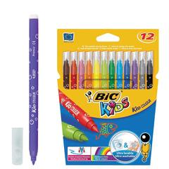 Фломастеры BIC «Kid Couleur», 12 цвета, суперсмываемые, вентилируемый колпачок, европодвес