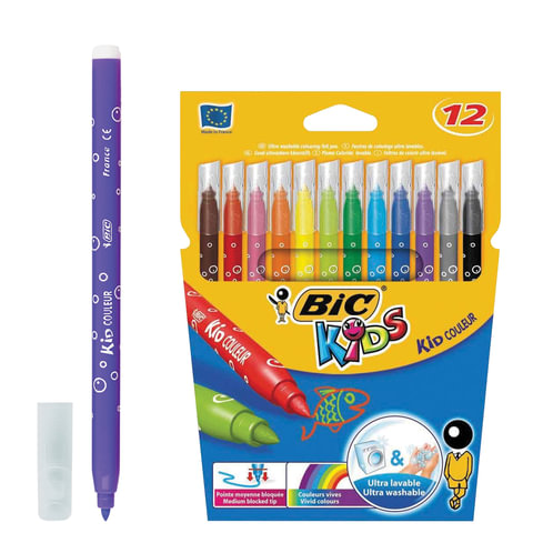 """Фломастеры BIC """"Kid Couleur"""", 12 цвета, суперсмываемые, вентилируемый колпачок, европодвес"""