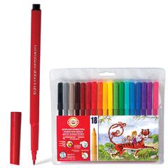 Фломастеры KOH-I-NOOR, 18 цветов, смываемые, трехгранные, пластиковая упаковка, европодвес