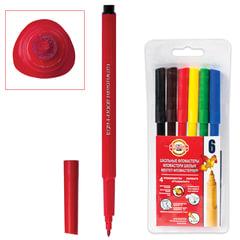 Фломастеры KOH-I-NOOR, 6 цветов, смываемые, трехгранные, пластиковая упаковка, европодвес