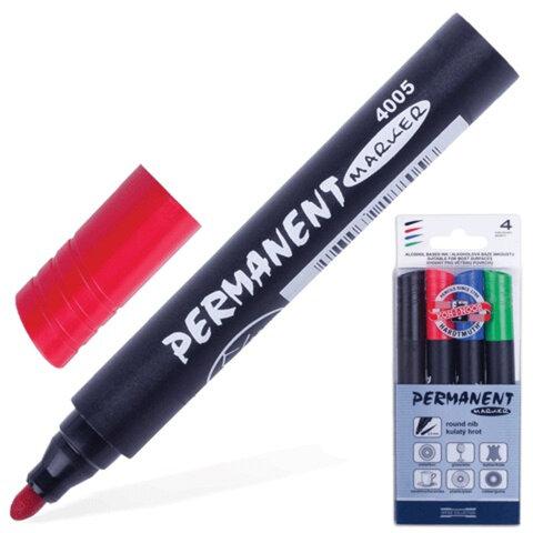 Маркеры перманентные (нестираемые) KOH-I-NOOR, набор 4 шт., круглый наконечник 2,5 мм (черный, синий, красный, зеленый)