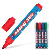 Маркеры для флипчарта EDDING, набор 4 шт., круглый наконечник, 1,5-3 мм, непропитывающие (черный, синий, красный, зеленый)