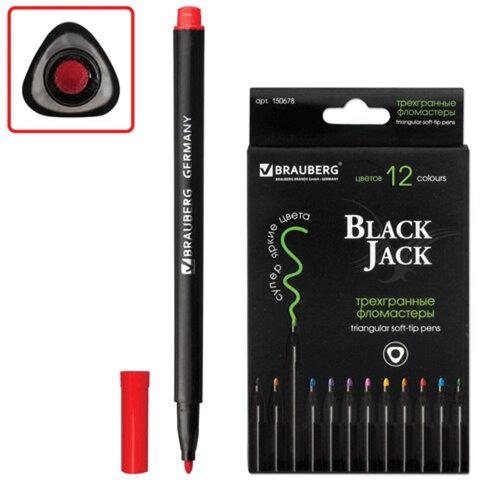 Фломастеры BRAUBERG «Black Jack» (БРАУБЕРГ «Блек Джек»), 12 цветов, вентилируемый колпачок, трехгранные, картонная упаковка