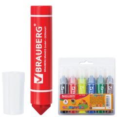 Фломастеры утолщенные BRAUBERG, 6 цветов, вентилируемый колпачок, наконечник конус, 1,5-10 мм, пластиковая упаковка