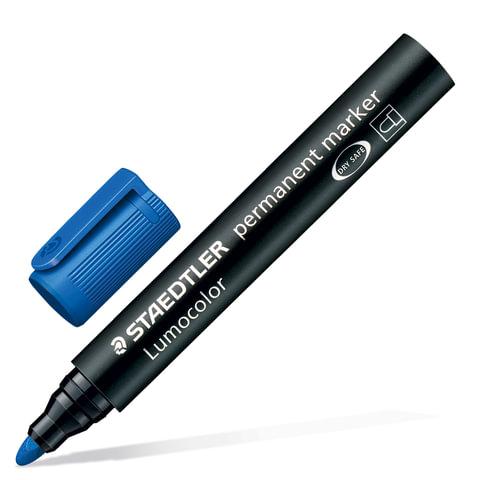 """Маркер перманентный (нестираемый) STAEDTLER (Германия) """"Lumocolor"""", круглый, 2 мм, синий"""