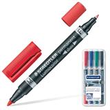 Маркеры перманентные (нестираемые) STAEDTLER (ШТЕДЛЕР, Германия), набор 4 шт., «Lumocolor Duo», двухсторонние, круглый, 0,6/<wbr/>1,5 мм