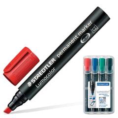 Маркеры перманентные (нестираемые) STAEDTLER «Lumocolor», набор 4 штуки, скошенные, 2-5 мм