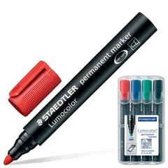 Маркеры перманентные (нестираемые) STAEDTLER «Lumocolor», набор 4 штуки, круглые, 2 мм