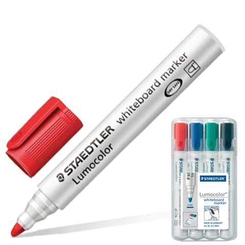 Маркеры для доски STAEDTLER (ШТЕДЛЕР, Германия), набор 4 шт., «Lumocolor», круглый наконечник, 2 мм (черный, синий, красный, зел.)